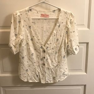 Floral peplum button up blouse (Urban Outfitters)